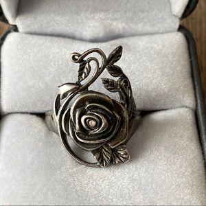 Veg Sterling Silver 925 Rose Vine Ring Gothic 9.25